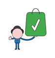 businessman character holding shopping bag with vector image vector image