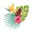 card with tropical flowers vector image vector image