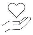 care thin line icon family and love hand holding vector image