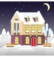 christmas house on a background winter night vector image vector image