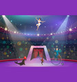 circus show animals and performers on arena vector image vector image