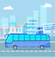 city tourist driving bus on cityscape cartoon vector image vector image