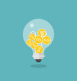 coins in light bulb flat design icon vector image