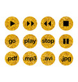 collection golden multimedia buttons isolated vector image
