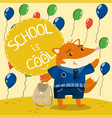 Cute little fox in school uniform standing on the vector image