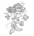 cute little mermaid girl floats in water and vector image