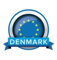 EU flag button with Denmark ribbon vector image vector image