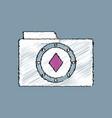 flat shading style icon casino chip on folder vector image vector image