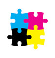 four jigsaw puzzle pieces in cmyk colors printer vector image vector image