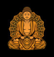 golden buddha statue design vector image