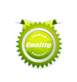 green label quality sign vector image vector image