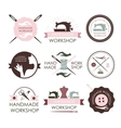 Handmade workshop logo vintage vector image