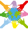 hands around the globe vector image vector image