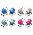 isometric set bastrollers isolated on white vector image vector image