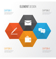 job icons set collection of envelope pen vector image vector image