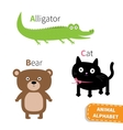 Letter A B C Alligator Cat Bear Zoo alphabet vector image