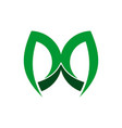 letter m green logo icon vector image vector image