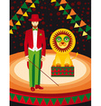 Lion and trainer in the circus art vector image