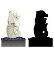 merlion and its silhouette on white background vector image