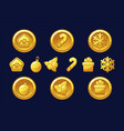 merry christmas golden coins happy new year coin vector image