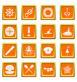 nautical icons set orange vector image vector image
