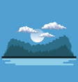 night background landscape of mountains and lake vector image vector image