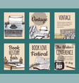 old books with ink quill feather pen and inkwell vector image
