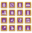 pest control tools icons set purple square vector image vector image