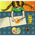 pop art girl painting sun vector image