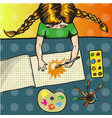 pop art of girl painting sun vector image vector image
