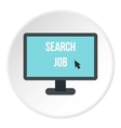 Search job in internet icon flat style vector image vector image