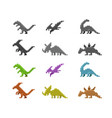 set of dinosaur icons in color pixel style vector image vector image