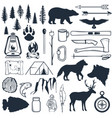 set wilderness silhouettes hand drawn camping vector image