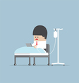 Sick businessman working hard in hospital bed vector image vector image