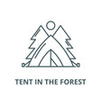 tent in forest line icon linear vector image vector image