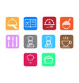 thin line chef icon set vector image