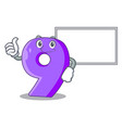 thumbs up with board mock interior font number on vector image