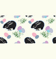 white pattern with rabbit and snowdrop vector image