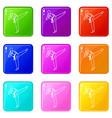 wushu master icons 9 set vector image vector image