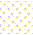 yellow and violet ornate birds with dots in the vector image
