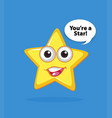 yellow star with happy face on blue background vector image vector image