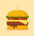 delicious hamburger flat vector image