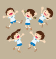 cute student boy and girl jumping be happy vector image