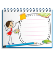 A notebook with a sketch of a young girl painting vector image vector image
