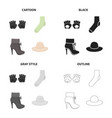 accessories gloves sock women s boot clothing vector image