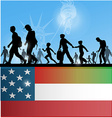 american people immigration background with flag vector image vector image