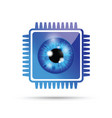 blue realistic eyeball on a microchip vector image vector image