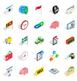 business strategy icons set isometric style vector image vector image