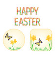 buttons happy easter spring flowers narcissus vector image vector image