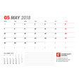 calendar template for may 2017 business planner vector image vector image